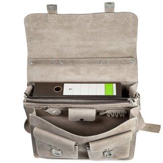 Lehrertasche aus Wildleder grau Innenaufteilung
