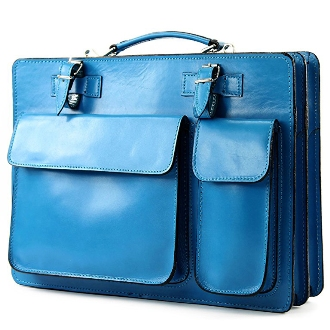 Lehrertasche aus blauem Leder