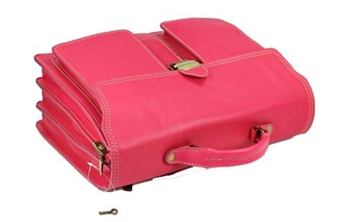 Lehrertasche pink Leder